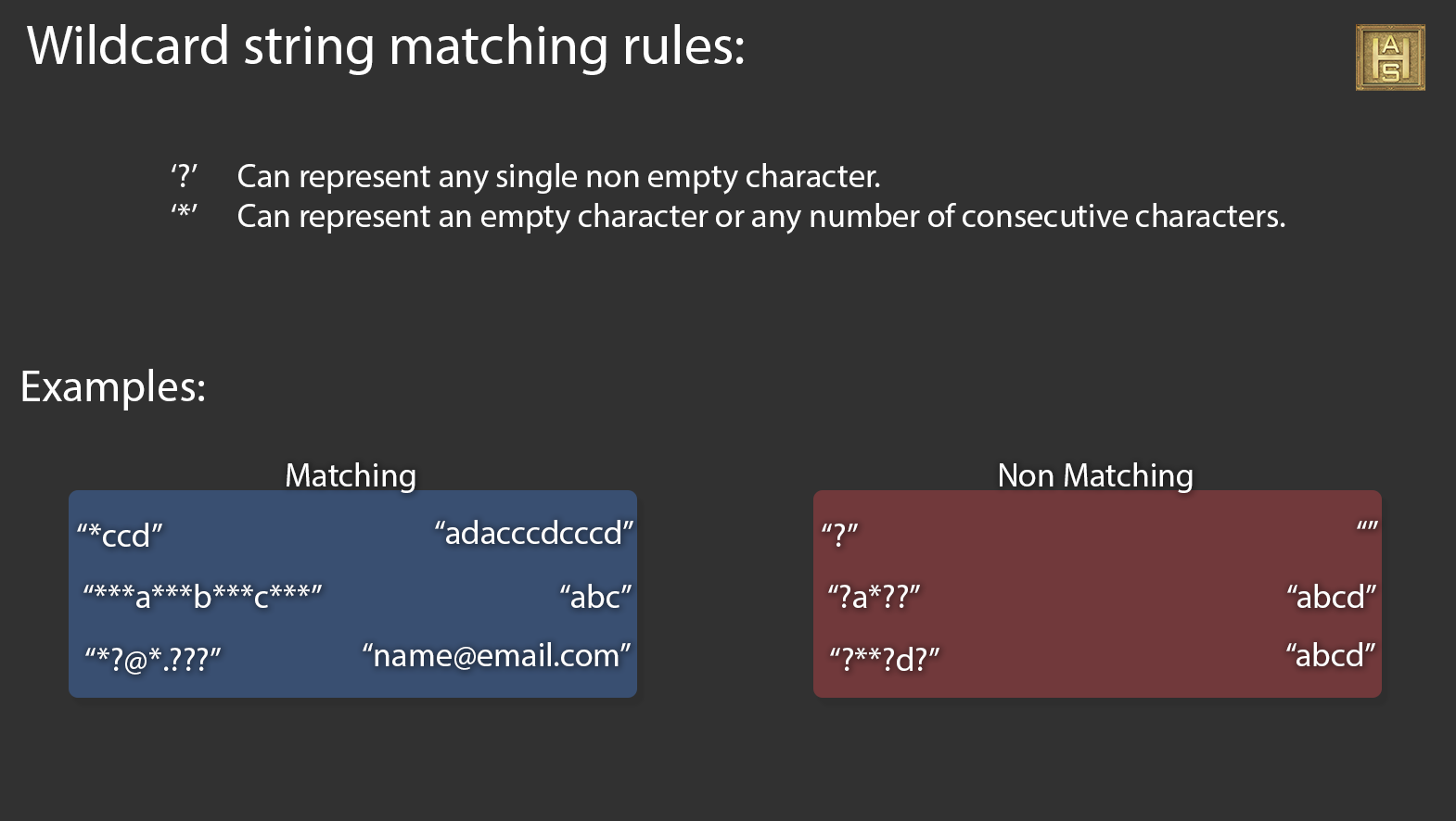 Rules for Wildcar Matching
